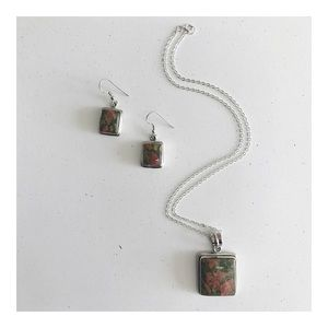 Jewelry - Unakite and Sterling Silver Necklace/Earrings Set